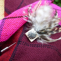 shawl scarf lapel pin featuring ivory natural feather  trim wedding groom