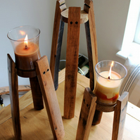 Oak Scotch Whisky Barrel stave candle stands