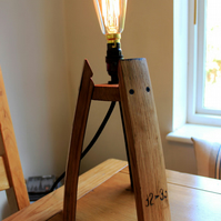 Scotch Whisky barrel stave edison table lamp, supplied with an edison bulb