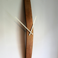 Barrel stave wall clock, with hand painted numbers