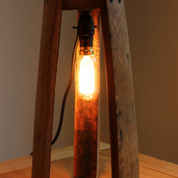Scotch Whisky barrel stave edison table lamp, with a hanging edison b