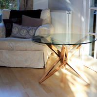 Oak Whisky barrel stave coffee table, with glass top
