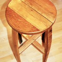 Oak bar, kitchen stool, made from reclaimed Scotch Whisky Barrel Staves