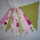 Pretty Pink & Green Floral Double Sided Fabric Bunting 3m - 11 Flags
