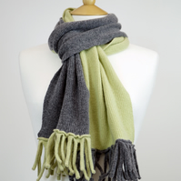 Grey and Green Two Colour Scarf