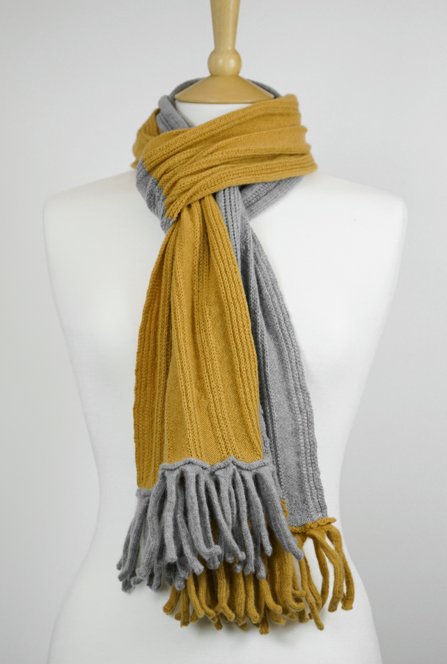 Gold and Grey Two Colour Scarf Textured