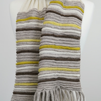 Knitted Scarf Cream and Taupe with Yellow