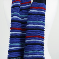 Knitted Scarf Navy and Blue