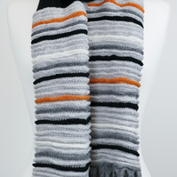 Knitted Scarf black and grey with orange