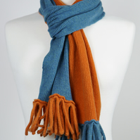 Orange and Dark Turquoise Two Colour Scarf