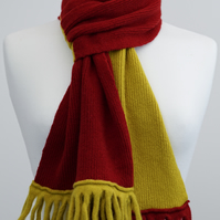 Mustard and Red Two Colour Scarf