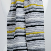 Knitted Scarf Grey shades and Mustard