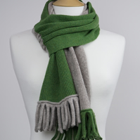 Beige and Green Two Colour Scarf