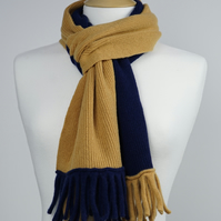 Gold and Light Navy Two Colour Scarf