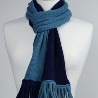 Teal and Navy Two Colour Scarf