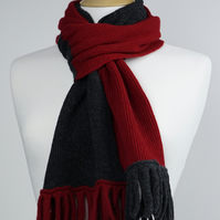 Red and Grey Two Colour Scarf