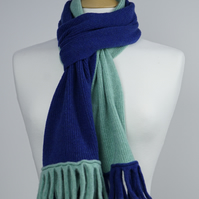 Blue and Mint Two Colour Scarf
