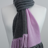 Light Pink and Grey Two Colour Scarf
