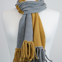 Gold and Grey Two Colour Scarf Plain