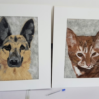 Custom made pet portrait. Needlefelt.
