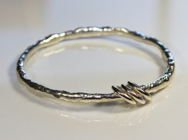 Triple Ring 'Raw Element' - a Sterling Silver Bangle