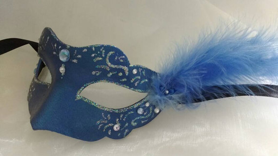 Blue masquerade mask - party mask - carnival masks - fancy dress eyewear