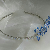 Bridal tiara, wedding hair accessories, blue and silver - bridal chic