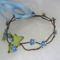 Blue hair garland, floral crown, woodland wedding