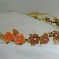 Autumn flower hair wreath - hair garland - blossom halo