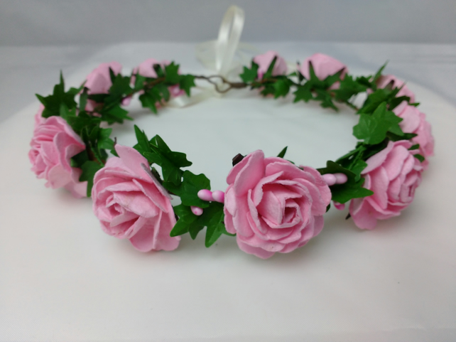 Rose hair garland, flower crown - wedding hair