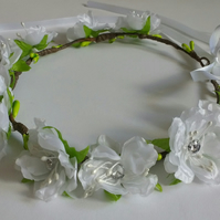 White flower crown - hair garland - wedding - bridal - flower girl