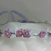 Lilac and silver flower crown, lilac and silver hair wreath