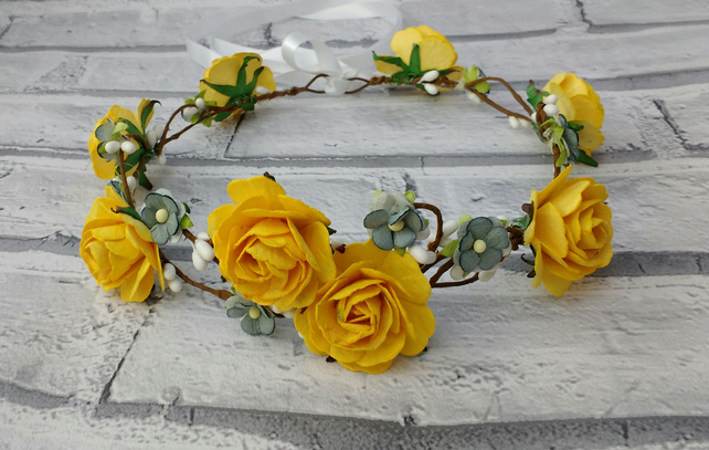 Yellow rose flower crown, hair garland, hair wreaths