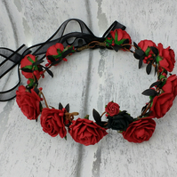 Red hair wreath, flower crown, red roses