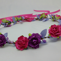 Hair crown, pink and purple, flower girl garland, festival hair