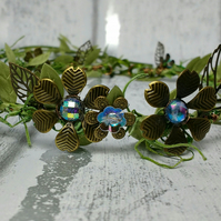 Fairy crown, woodland weddings, antique bronze flower wreath