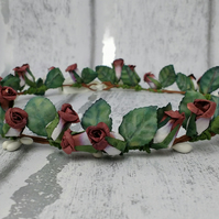 Vintage rose hair wreath, rose bridal crown, wedding headdress