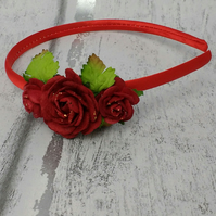 Red rose fascinator, brides maid Alice band, wedding accessory