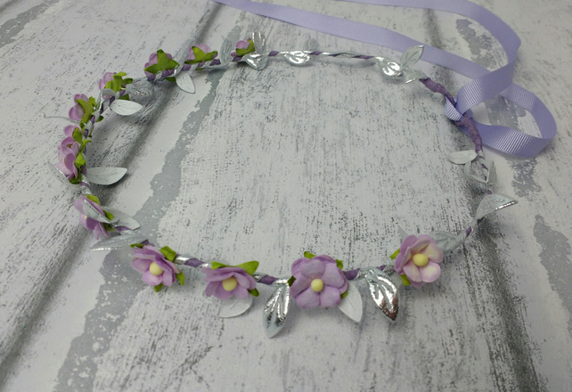 Flower crown, hair wreath, purple and silver, lilac headdress