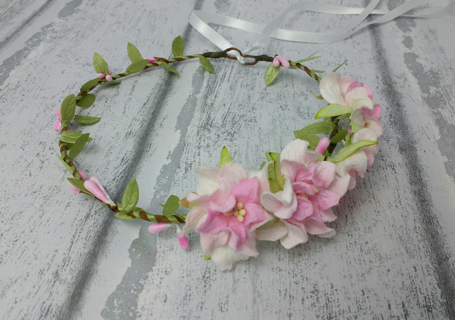 Pink flower crown - hair garland - wedding hair - flower girl