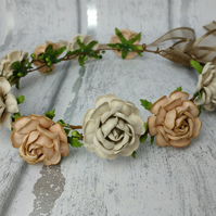 Hair garland, flower wreath, rose circlet, flower crown