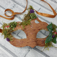 Masquerade mask, woodland party masks, forest nymph, moss and toadstools