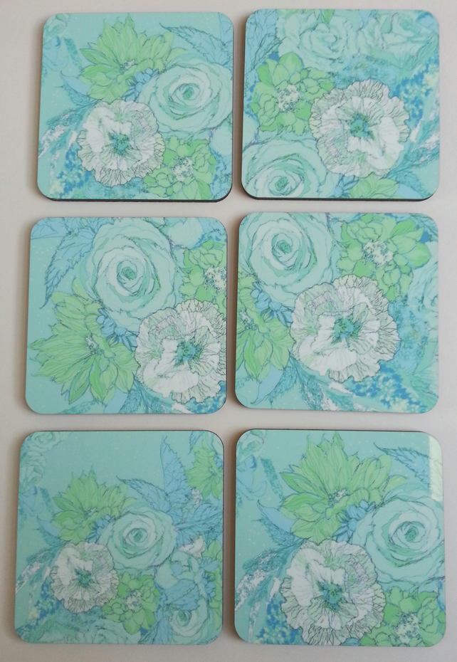 Coaster set of six (sketched flowers duck egg blue)