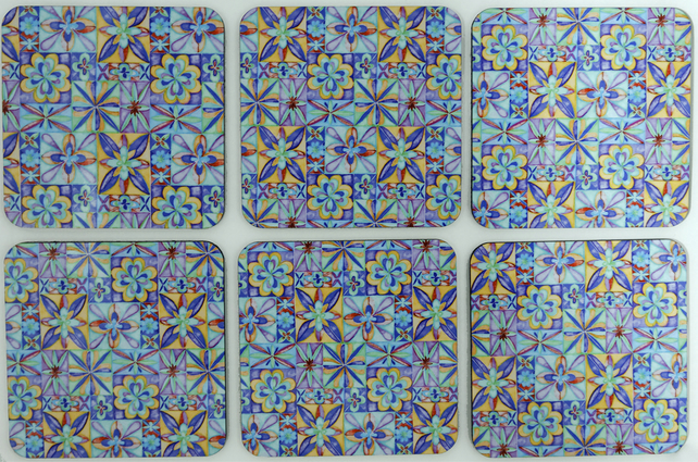 Coaster set of 6 Multi-coloured watercolour pattern, cork backed coasters