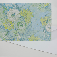 Card A5 ( Floral Bouquet fresh green on pale blue)