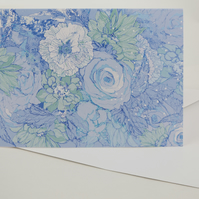 Card A5 ( Floral Bouquet, fresh lilac, blue, green, white)