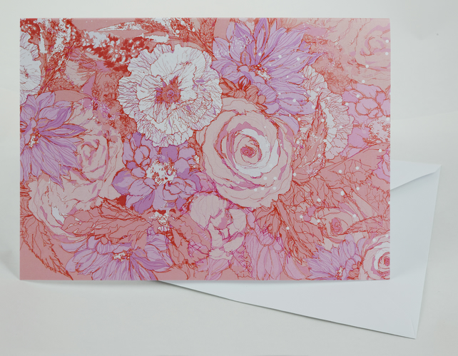 Card A5 ( Floral Bouquet fresh rose, lilac, white)