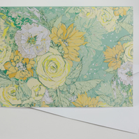 Card A5 (Floral Bouquet fresh green,yellow,orange.)