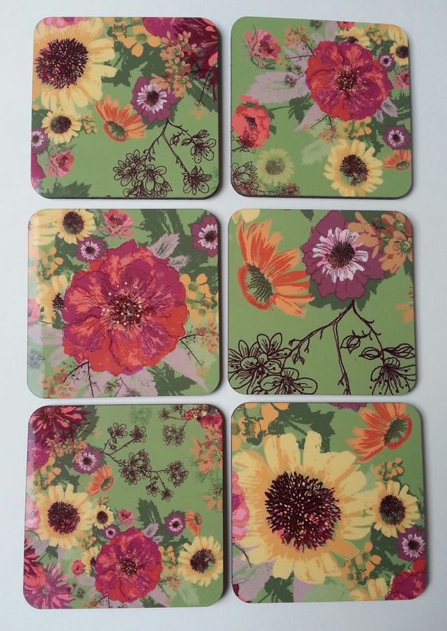 Cork Backed Coaster Multi-coloured on Green, Daisy, Floral Coaster (Set of 6 )