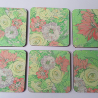 Coaster set of six ( sketched flowers pretty green)